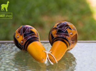 Peruvian hand-carved gourd maracas
