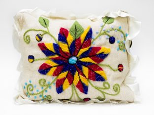 Jute Pillow with Handmade Embroidery