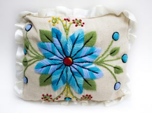 Hand-embroidered Jute Pillow