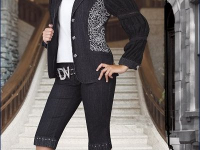 LADIES DENIM SUIT BY DONNA VINCI