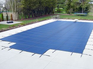 Winter Inground Pool Safety Cover Installation