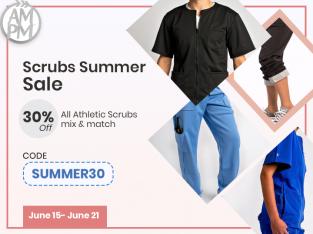 Athletic Medical Scrubs Summer Sale | 30% Off | Code: SUMMER30