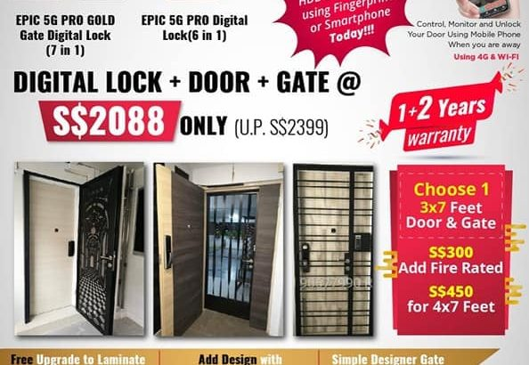 epic gold fingerprint digital lock with gate and main door only $2088