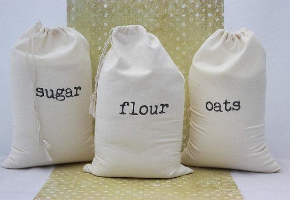 Cotton Flour Bag, Cotton Food Packing Bag, Storage Bag, Muslin Bag