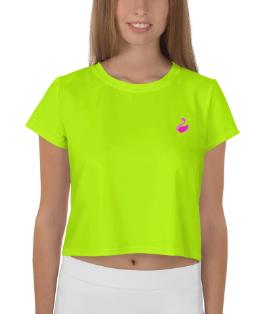 PnkSwn Solid Neon Green Crop Tee