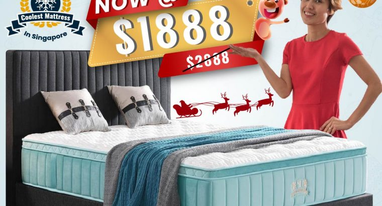 Christmas Promotion for Coolest Mattress in Singapore. FREE Bed Frame and FREE Safe. $100 Coupon for