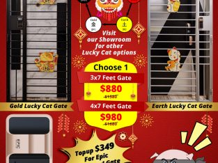 LUCKY CAT GATES FOR HDB, CHINESE NEW YEAR PROMOTIONAL SALE FROM $880 + EPIC GOLD CARD GATE DIGITAL L