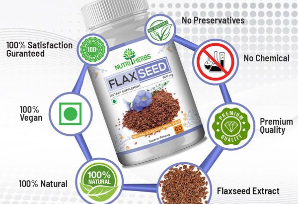 Nutriherbs Flaxseed Capsules for Better Heart Health and Digestion