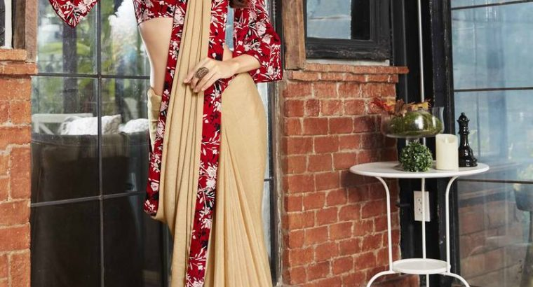 Grab the Latest Beige Color Faux Georgette Saree From Mirraw