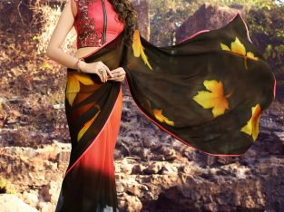 Buy Printed Multicolor Saree with Blouse at Mirraw