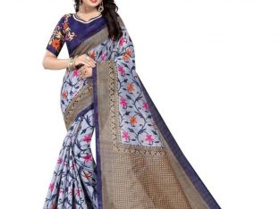 Get Upto 68% Off on Blue Printed Saree at Mirraw