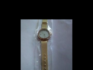 Gold Rhinestone Mesh Watch (Womens)