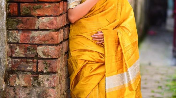 Buy Latest Raw Silk Yellow Saree with Blouse from Mirraw