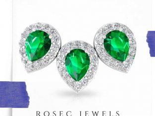 Green Color Stone Halo Diamond Earring