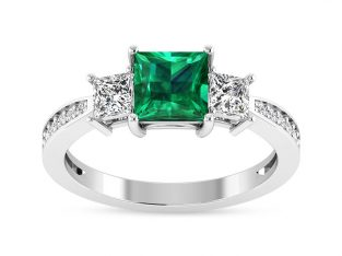 Emerald Gemstone Engagement Rings in White Gold
