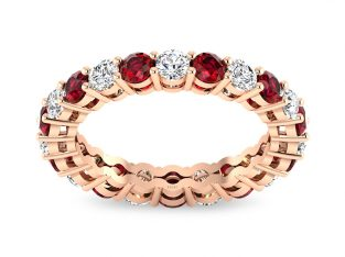 Rose Gold Diamond Ruby Eternity Ring with Prog Setting