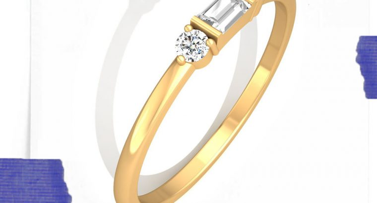 Minimalist Three Stone Diamond Ring