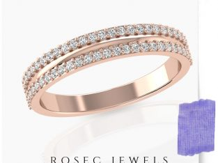 Rose Gold Art Deco Stackable Band Ring