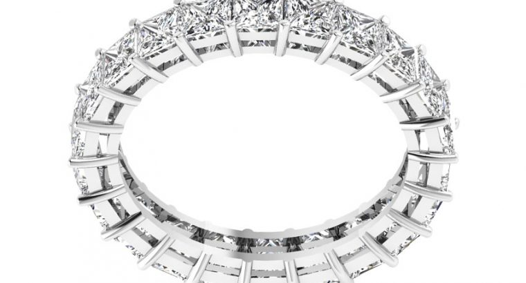 Princess Cut Diamond Eternity Ring Set with White Gold
