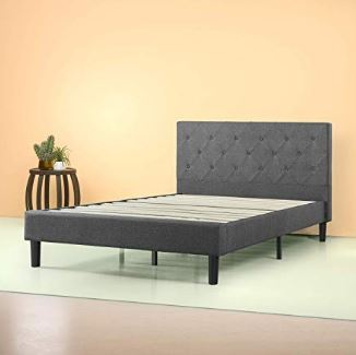 Zinus Shalini Upholstered Diamond Stitched Platform Bed / Mattress Foundation / Easy Assembly