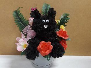 Handcrafted Scented Black Carnation Dog Arrangement