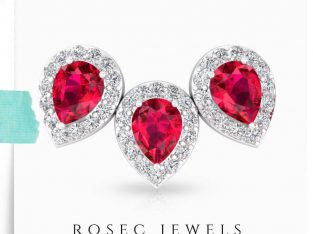 Ruby Glass Filled Halo Diamond Earring