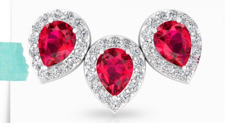 Ruby Glass Filled Halo Diamond Earring