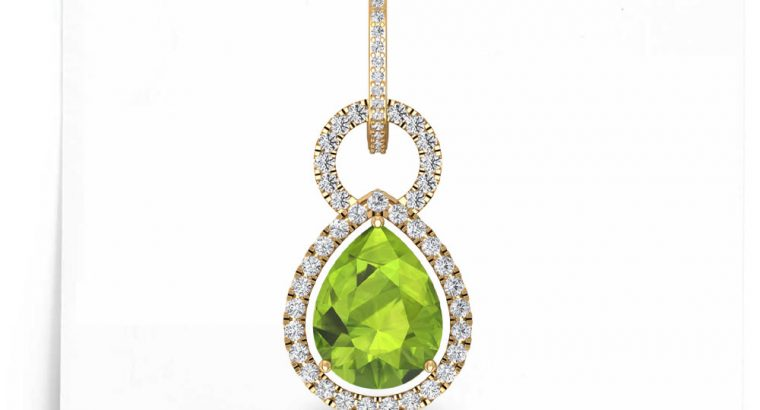2.5Ct Pear Peridot Drop Earring, Art Deco Long Drop Earring