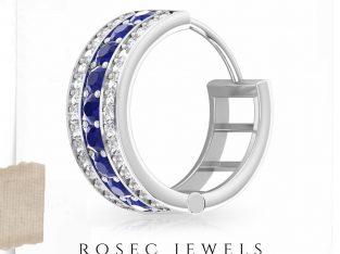 Vintage Blue Sapphire Hoop Earrings, Classic Diamond Bridal Earrings