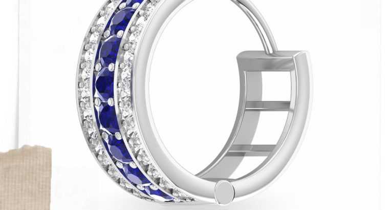 Vintage Blue Sapphire Hoop Earrings, Classic Diamond Bridal Earrings