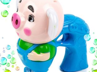 Toysery Blue Pig Bubble Gun Machine for Kids, Non Toxic Toy Blaster with 1 Soap Solution Refill