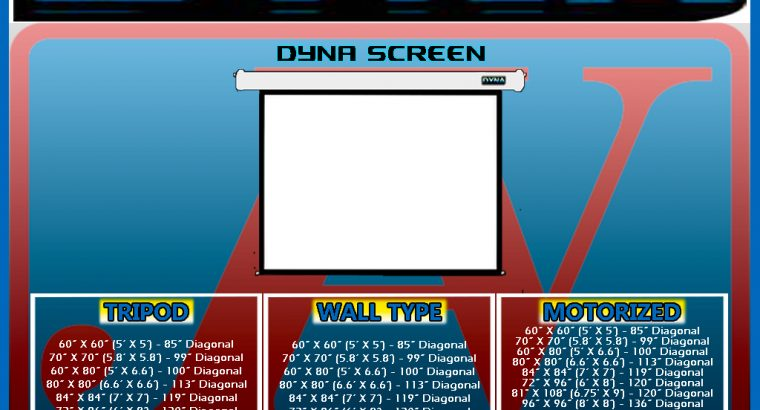 DYNA PROJECTION SCREEN, WALL SCREEN, PROJECTOR SCREEN, MANUAL PULL-DOWN SCREEN