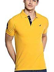 Yellow Cotton Casual Polo Shirt for Men