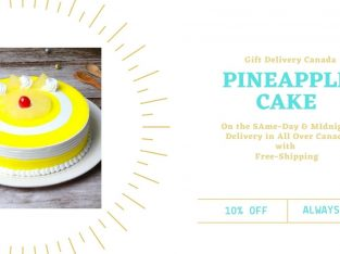 Buy Online 1 kg Pineapple Cake Delivery in Canada| Gift Delivery Canada