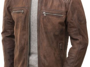 Dark Mens Cafe Racer Brown Genuine Distressed Leather Motorcycle Jacket Mens