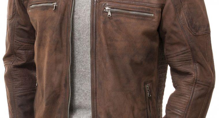 Dark Mens Cafe Racer Brown Genuine Distressed Leather Motorcycle Jacket Mens