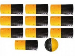 10m Rubber Traffic Speed Breaker Bump Hump with End Caps By hiphen