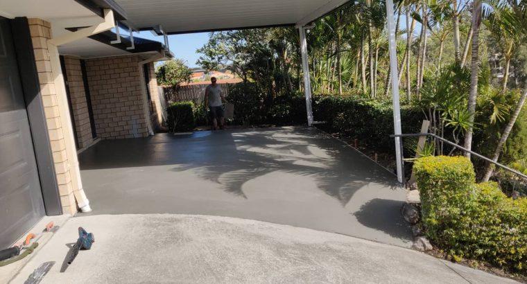 Carport concrete slab.