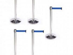 Retractable Belt Stanchion Crowd Queue Control Barrier Post – 5 Poles + 5 Ropes by hsl