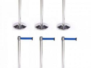 Retractable Belt Stanchion Crowd Queue Control Barrier Post – 6 Poles + 6 Ropes by hssl