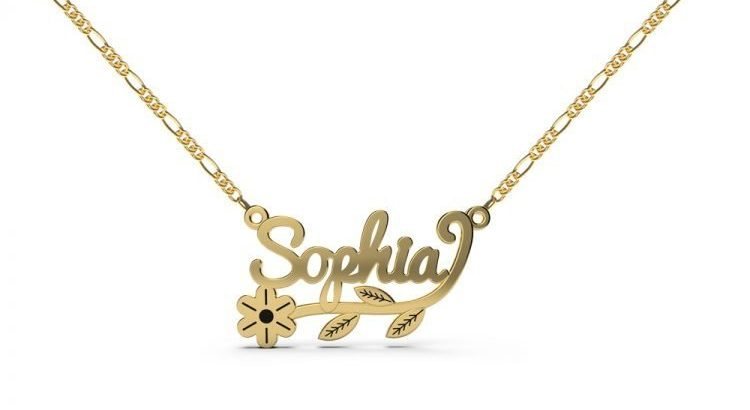 Personalized Name Necklace with Flower