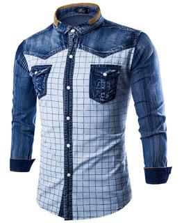 Men Blue Plain Official Shirt