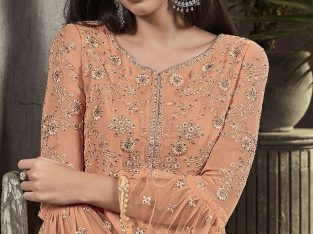 Peach Georgette Palazzo Suits Party Wear Pakistani Dresses