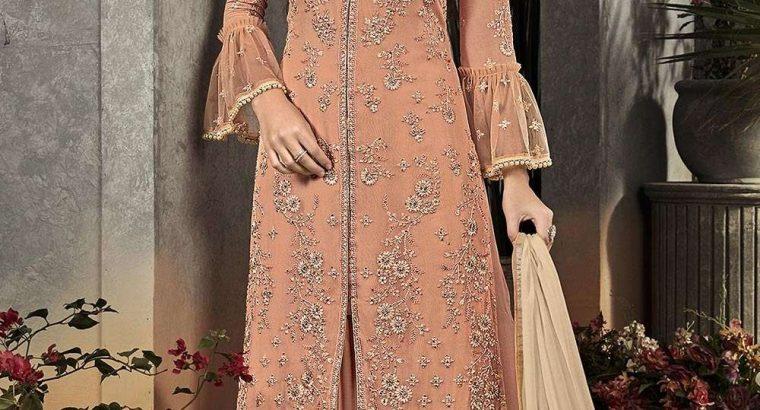 Peach Georgette Palazzo Suits Party Wear Pakistani Dresses
