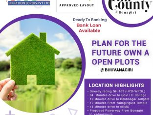 HMDA APPROVED LAYOUT @Bhuvanagiri @ 11.5k Per Square Yard