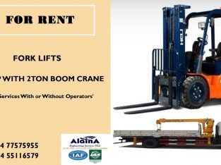 FORK LIFT & PICKUP WITH BOOM CRANE FOR RENT
