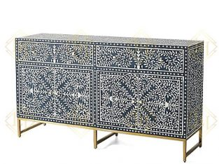 Indigo Scroll Vine Bone Inlay Buffet