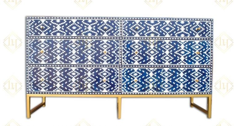 Ikat Bone Inlay 6 Drawer Chest Indigo