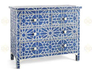 Moroccan Bone Inlay Chest of Drawers