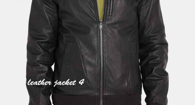 Black Washed Leather Hooded Jacket